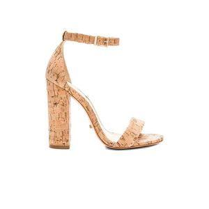 Schutz Enida Leather Cork Ankle Strap Buckle Heel